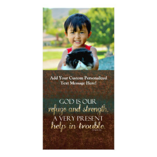 Dios es nuestro verso cristiano Brown/oro de la Tarjeta Con Foto Personalizada