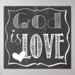 Dios es poster del tablero de tiza del amor