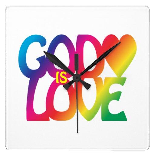 Dios es reloj de pared del amor
