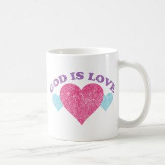Dios es vintage del amor taza clásica