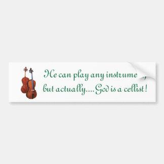 Dios es violoncelista pegatina para auto