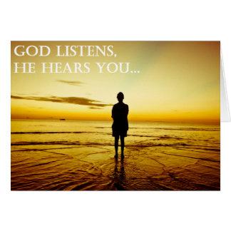 Dios escucha tarjeta de felicitación