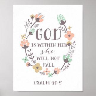 Dios está dentro de ella, ella no se caerá. 46:5 póster