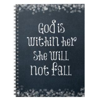 Dios está dentro de ella, ella no se caerá verso notebook
