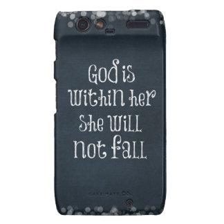 Dios está dentro de ella, ella no se caerá verso motorola droid RAZR fundas