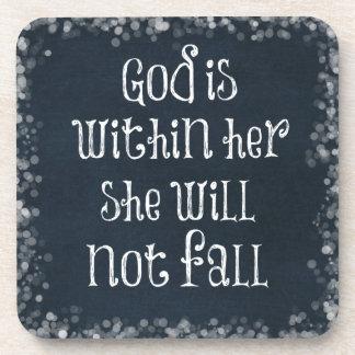 Dios está dentro de ella, ella no se caerá verso posavasos