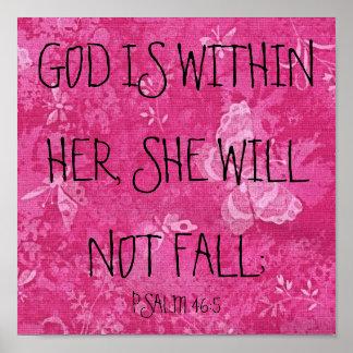 Dios está dentro de su 46:5 del salmo del verso de impresiones