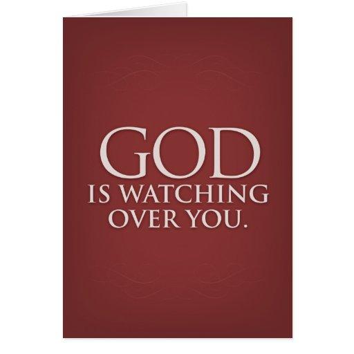 Dios está vigilando usted. Tarjeta de felicitación