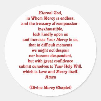 Dios eterno en quien la misericordia es sin fin… pegatina redonda