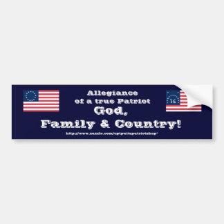 ¡Dios, familia y país! Pegatina De Parachoque