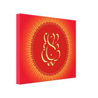 Dios Ganesha con los rayos del sol Lona Envuelta Para Galerías