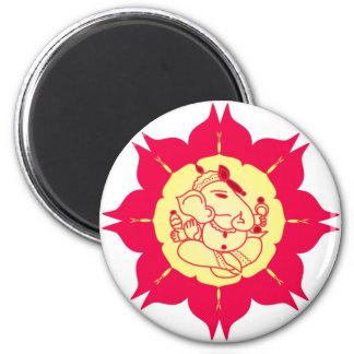 Dios Ganesha en la flor Imán Redondo 5 Cm