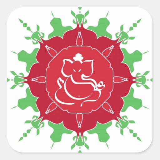 Dios Ganesha en la flor roja Pegatina Cuadrada