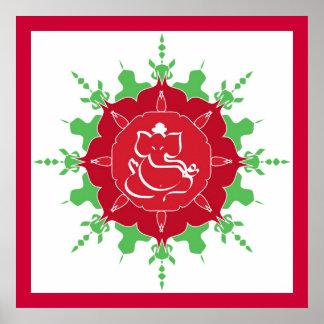 Dios Ganesha en la flor roja Póster