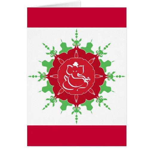 Dios Ganesha en la flor roja Tarjeta De Felicitación