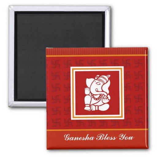 Dios Ganesha Imán Cuadrado