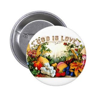 Dios generoso de la cosecha del vintage es el amor pin redondo 5 cm