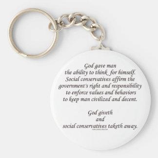 Dios Giveth; Conservadores sociales Taketh lejos Llavero Redondo Tipo Pin