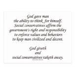 Dios Giveth; Conservadores sociales Taketh lejos Postal
