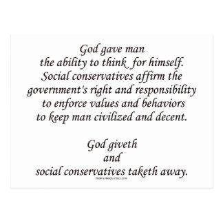 Dios Giveth; Conservadores sociales Taketh lejos Tarjetas Postales