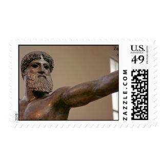 Dios griego Zeus, estatua de bronce Timbre Postal