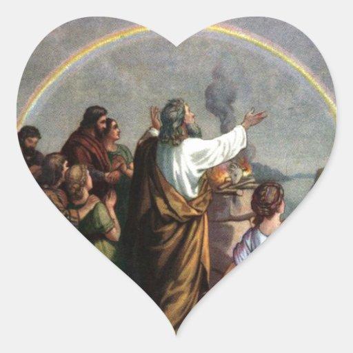 Dios hace una promesa a Noah Calcomanía Corazón Personalizadas