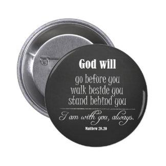 Dios inspirado citará con verso de la biblia pin redondo de 2 pulgadas