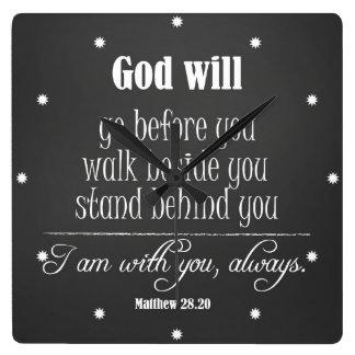 Dios inspirado citará con verso de la biblia reloj cuadrado