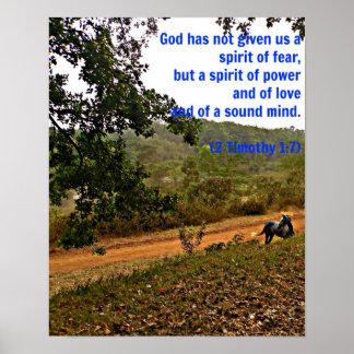 Dios inspirado del verso de la biblia de Timothy d Poster