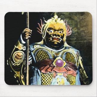 Dios japonés de Bishamon del vintage de la guerra Alfombrillas De Ratones