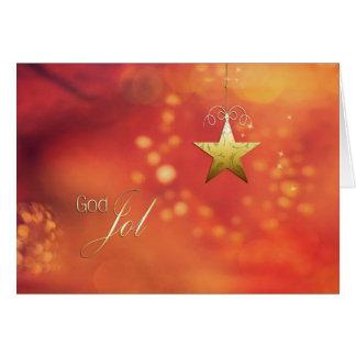 Dios Jol, Felices Navidad en noruego, estrella Tarjeta De Felicitación