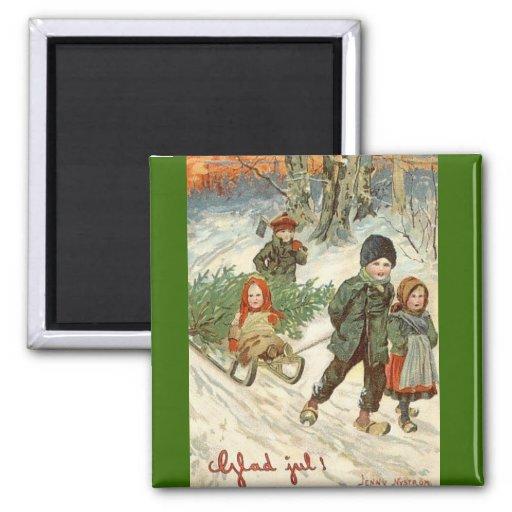 """""""Dios julio!"""" o niños minúsculos en la nieve Imán De Frigorífico"""
