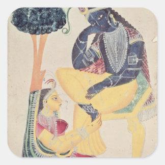 Dios Krishna con su amor mortal, Radha Pegatinas Cuadradases