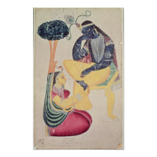 Dios Krishna con su amor mortal, Radha Póster