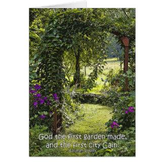 Dios la tarjeta hecha primer jardín