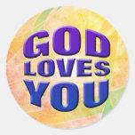 Dios le ama 2 etiqueta redonda