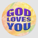 Dios le ama #2 etiqueta redonda