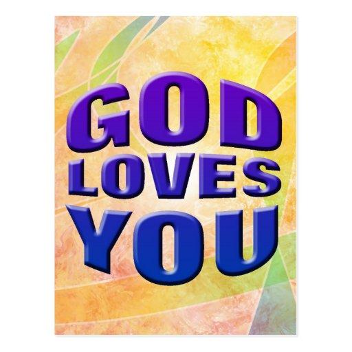 Dios le ama 2 postal