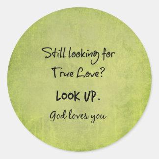 Dios le ama cita cristiana pegatina redonda