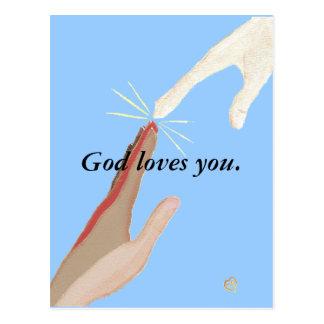 Dios le ama, energía, postal multirracial de las