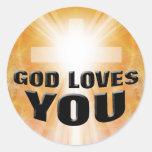 Dios le ama etiquetas redondas