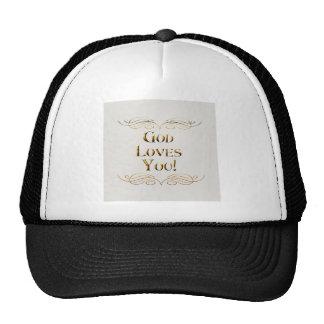 Dios le ama gorros bordados