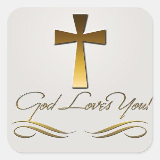 Dios le ama pegatinas cuadradases