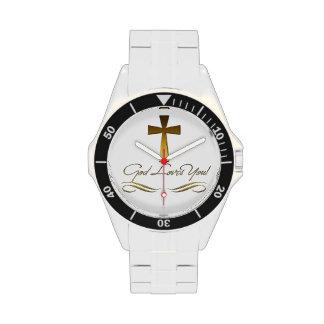 Dios le ama reloj de mano