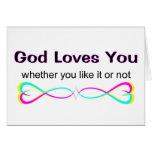 Dios le ama si usted tiene gusto de él o no tarjeton