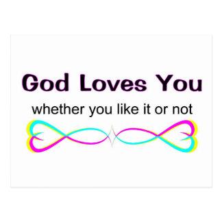 Dios le ama si usted tiene gusto de él o no postales