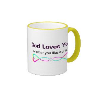 Dios le ama si usted tiene gusto de él o no taza a dos colores