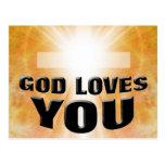 Dios le ama tarjetas postales