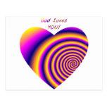 Dios le ama w/heart postal