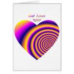 Dios le ama w/heart tarjetas
